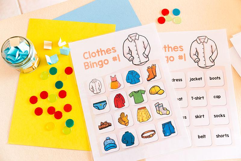 בגדים באנגלית